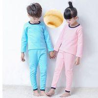 girls wear underwear - 2016 Girl boys Sleep Wear Clothing Set Warm Children Pajamas Suit Long johns Kids Cotton Plus Velvet Winter Underwear