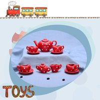 Wholesale Red Peach Style Ceramic Gift Box Packing Mini Tea Set For Kids Puzzle Pretend Play