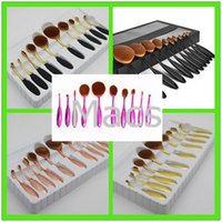 Wholesale 10pcs set Makeup Brush Set Tooth Brush Shape Oval Professional Foundation Powder makeup brushes kits