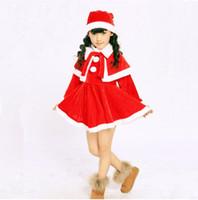 al por mayor set vestidos de santa-Bebé Niñas Navidad Santa Claus Fancy Dress con sombrero chal Set conjunto de niñas Juegos de conjuntos de niños de Navidad JM11 001