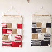 Fabric Food Eco Friendly 13 Pockets Home Storage bag hanging stripe pouch wall door post bag Wall Pocket Hanging Bathroom Storage Bags Makeup Organizer