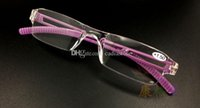 Wholesale New Unisex Clear Rimless Reading Glasses Spectacles Eyeglasses with Case Purple E00641 FASH