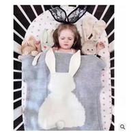 Wholesale Rabbit Ins Baby Blanket Crochet cm Cartoon Knitted For Bed Sofa Cobertores Mantas BedSpread Bath Towels Play Mat