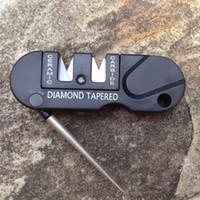 Wholesale Multi function Pocket EDC Sharpener Ceramic Carbide Diamond Knife Sharpening Stone Outdoor Camping Sharpener EDC Tools