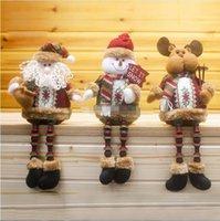 achat en gros de noël farcies reindeers animales-Santa Claus Bonhomme de neige Rennes Peluches Poupée Peluches Décoration de Noël Enfants Cadeaux pour enfants Navidad Xmas Tree Hanging Ornaments
