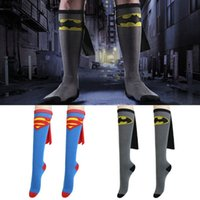 Wholesale Hot Sell Superhero Costume Football Sock Cartoon Sock with Cape Cosplay Football Stockings Hose tops Hose Boot Sock