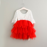 baby cakes clothes - Hug Me Baby Girls Lace Christmas Dress Tutu New Autumn Winter Short Sleeve Kids Clothing Sequiry Flower Cake Dress AA