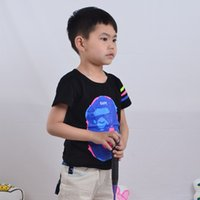 NO basic quality - Boys Tee Round Neck Fashion Cartoon Printing Short Sleeve With Color Stripes Straight Cut Back T shirt High Quality Daily Basic Style