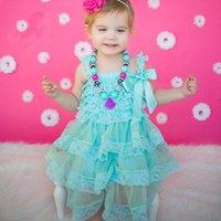 al por mayor vestido de encaje occidental niñas-Chicas Lace Tutu Ruffles Sundress Princesa Verde Color Verano Holiday Party Dress Western