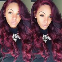 Precio de Tonelada de color-Long 2 Tones peluca sintética del frente del cordón color rojo Plata Ombre Mano atada pelucas onduladas Raíces oscuras Pelo resistente de la fibra de la fibra