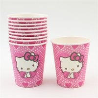 Wholesale happy birthday party decoration disposable tableware paper cups hello kitty cartoon pattern Kids Party supplies
