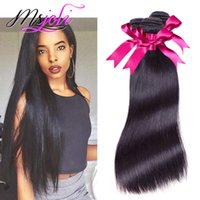Wholesale 7A Brazilian virgin human hair three bundles Unprocessed Straight natural color queen hair pics double weft from msjoli
