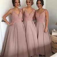 Livraison gratuite Coral Rose perles Deep V Neck Long taffetas robes de demoiselle d'honneur pour la mariée Bride Maid B3