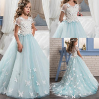 Wholesale 2017 Short Sleeves Pretty Lace Girls Pageant Dresses for Teens With Train Graduation Kid Glitz Little Flower Girl Prom Dresses
