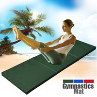Wholesale 180 CM Yoga Gymnastics Mat Folding Gym Fitness Excercise Mat Blue Red Green Foam Pad Practice Aerobics