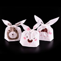 Wholesale Lovely Rabbit Sheep Rat Print White Packaging Bags Shopping Bag Supermarker Plastic Bags With Handle