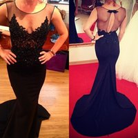 Wholesale 2016 Celebrity oscar red carpet gown A Line Black Applique Mermaid Tulle Backless Prom Gowns Formal Custom Evening Party Club Wear