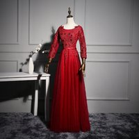 Wholesale Appliques Evening Dress Beaded Valentino Elie Saab Sash Sheer Neck Long Sleeves New Party Pageant Dresses Gown Formal Gowns