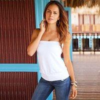 Women batik tee - Women Sexy Solid Tops Strapless Slim Fit Tees White Black
