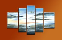 5-панельная 100% ручная роспись картины маслом Абстрактная живопись Современное искусство Пейзаж Холст каркасные Готовые Ханг