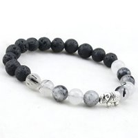Wholesale High Quality Black Lava Natural Crystal Stone Beaded Bracelet Bangle Elephant Pendent Stretch Women Mens Energy Yoga Jewelry