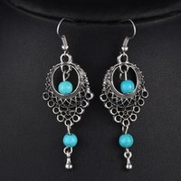 Wholesale Foreign trade Bohemia earrings national wind restoring ancient ways lay in blue turquoise earrings on source water long earrings