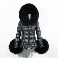 Wholesale 2017 Winter Fashion Faux Fur cotton coat Women Jacket Fur Collar Hooded Fur Parka Coat Warm Long Sleeve Slim Outwear Plus Size FS0947
