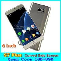 Wholesale S7 Plus inch Curved Side Screen Smartphone MTK6580 Quad Core Android Dual SIM G Unlocked GB GB Mobile Cell phones Free Case