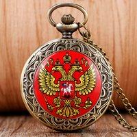 antique russian watches - New Arrival Vine Russian National Emblem Double Eagle Head Brave Souvenir Quartz Pocket Watch Necklace Russian Pocket Watch