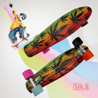 Wholesale 2016 New quot High Quality Graphic Series Leaf series Mini Cruiser Long Style Floral Skateboard Complete Single Rocker Long Board