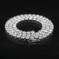 Wholesale Mens Silver Gold Iced Out Crystal Row mm inch Tennis Chain Hip Hop Bling Steampunk Necklace