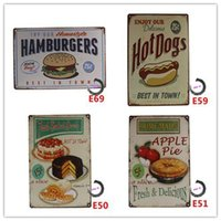 Wholesale Metal Tin Sign HAMBURGERS HOT DOGS APPLE PIE AMERICAN DINER LARGE metal Retro Aluminium HOME STYLE