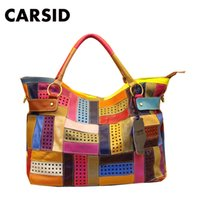 colorful handbags - New Fashion Tote Genuine Natural Leather Patchwork Handbags Women Messenger Bag Purse Colorful