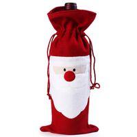 Санта костюмы Цены-Оптовые- Рождественские Деды Морозы Костюм вина бутылки Обложка сумки рукава декор стола