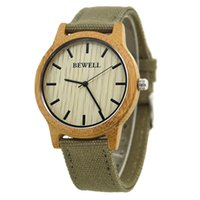 Wholesale Natural Bamboo Wood Watch Wristwatch For Men With Canvas Band Fashion Japan Movement Analog Watches Best Selling Watch Cheanp