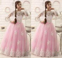 little girl - Hot Pink Floor Length Flower Girl Dresses Long Sleeves A Line Appliques Pageant Dresses for Little Girls Hot Design