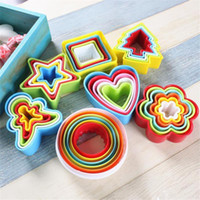 Plastic abs food grade plastic - 5pcs Round Various Mould Fondant Cake Biscuit Baking Cookie Plunger Cutter Decor Stars Christmas Tree Mould Food Grade ABS