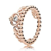 Wholesale Authentic Sterling Silver Ring Rose Gold Princess Tiara Royal Crown With Crystal Rings Compatible With Pandora DIY Jewelry HRA0115