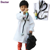 Wholesale Chinese Clothes For Boys - 2016 New Baby Girl Boy Chinese Outfit Clothes Doctor Surgeon Costumes Cosplay Wear For Kids Children Stage Performance Clothing