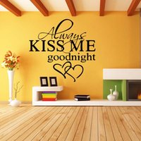al por mayor calcomanías de decoración de la habitación-Para Siempre Bésame Goodnight Love Quote Wall Stickers Cuarto de estar del dormitorio Art extraíble Decora Decals Diy