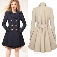 Wholesale 2017 New Fashion Women Korean Wool Coat Ladies Designer Long Blazer Winter Outwear Windbreaker Female Buttons FS0640