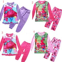 Wholesale Children Trolls printing Pajamas outfits new kids cartoon top Pants set baby suit C1638