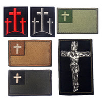 Wholesale 50 Christian Jesus Christ Cross Tactical Morale Patch Hook Loop Embroidered Badge appliques Military Army Patches