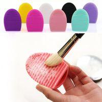 Wholesale Brushegg Cleaning Glove MakeUp Washing Brush Scrubber Board Cosmetic Brushegg Cosmetic Brush Egg colors JJD2033