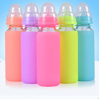 arc types - ML ML Infant Baby Straw Glass Feeding Milk Bottle Full Silicone Children Juice Cups Drop Resistance With Handle