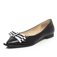 Wholesale The new square single shoes for women s shoes with flat bow shallow mouth sweet leisure shoes