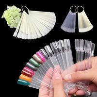 Wholesale 50Pcs Hot Selling Nails Tools White Transparent False Nail Art Tips Sticks Polish Display Fan Practice Tool Board