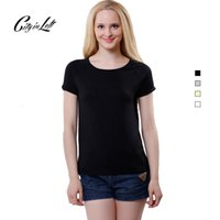 bamboo tees - New Fashion Bamboo Fiber T Shirt Women O Neck Solid Color Casual Comfortable Soft Short Sleeve Top Tee Shirt Femme