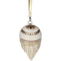 Bolso de embrague de la borla del oro 2016 Bolsos de tarde de las mujeres de plata de la manera Bolsos de las señoras de lujo rebordeados Perlas Vintage Bolso del embrague de la tarde