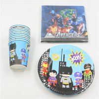 Wholesale people use super heroes theme party paper plate cups napkin banner map for kids birthday party s disposable decoration